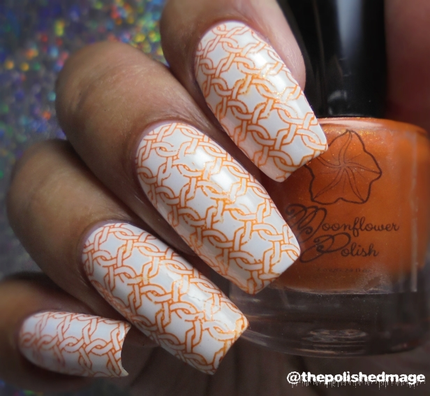 moonflower polish atardecer en el morro white stamp